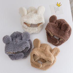 Baby Stuff Accessories Winter Baby Girls Boys Warm Ears Hats Autumn Soft Beanie Hat Ear Plush Cap Fuzzy Solid Hats Props