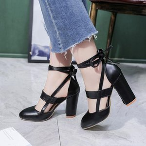 PUMPS 2020 new European and American models large size female sandals high heel thick with straps hollow shoes 43 yards
