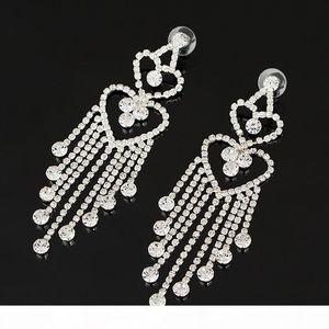 K High Quality Drop Earrings Long Tassel Crystal Wedding Engagement Earrings For Women Accessories Jewelry Gift #E074