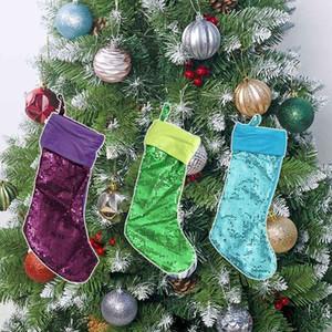 Fashion Bling Xmas 2020 Christmas Stocking Gift Bags Large Size Sequins Decorative Socks Bag Free Shipping