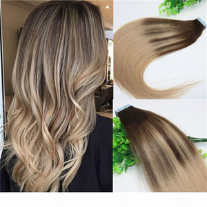 #4 #18Skin Weft Tape In Human Hair Extensions PU Tape Hair 40pcs 100gram Balayage Ombre Hair Color Ash Blonde Highlights