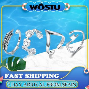 WOSTU 100% 925 Sterling Silver Sticky Cat with Long Tail Finger Ring Women Ring Adjustable Engagement Jewelry