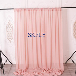 BC003A wedding birthday party popular dusty pink blush pink white ivory blue lilac chiffon photography backdrop with rod pocket