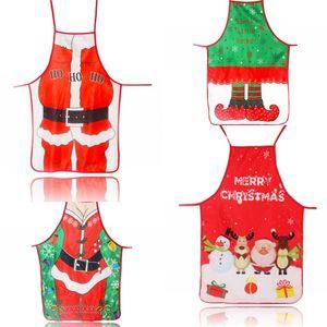 Cartoon Style Aprons Color Printing Fabric Art Christmas Dress Festival Decoration Snowman Deer Pattern Apron Hot Selling 6mz L1