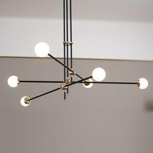 Nordic led chandelier postmodern minimalist living room dining room model bedroom bedroom geometric line combination pendant lamp I11