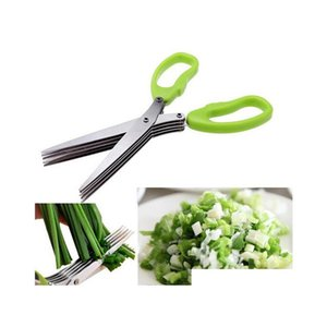Stainless Steel Cooking Tools Kitchen Accessories Knives 5 Layers Scissors Sushi Shredded Scallion Cut Herb jllnOz eatout