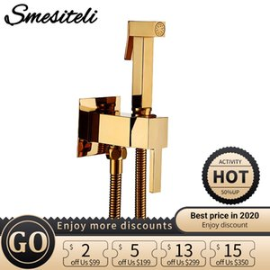 Smesiteli Toilet Brass Bidet Spray Shower Bidet Set Copper Valve Bathroom Bidet Shower Sprayer Wall Mounted Tap Mixer C0127