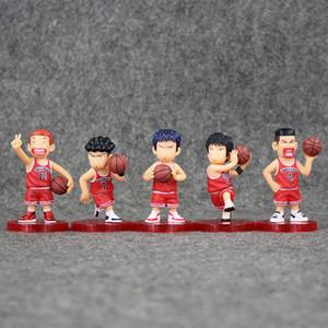 7-7.5cm SLAM DUNK Shohoku Rukawa Kaede 5pcs set PVC Action Figure Collectable Model Toy for kids gift free shipping retail