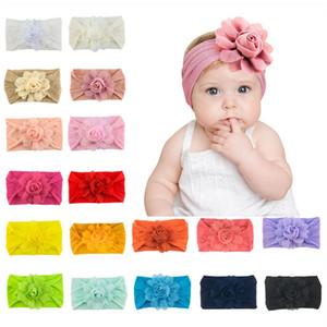 Chiffon Flower Nylon Headband Baby Girls Soft Elastic Wide Headwrap Princess Headdress Floral Hair Accessories 18 Designs M3098