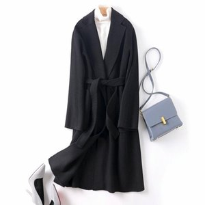 High-end double-sided cashmere coat fork hand-stitched autumn winter double-sided coat long bathrobe handmade wool