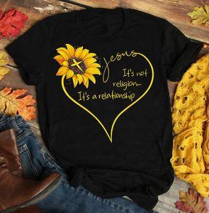 sunfiz Sunflower Jesus Shirt Black Cotton Ladies Shirt Cartoon T Men Unisex New Fashion Tshirt Free Shipping Funny Tops