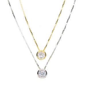 2018 latest single stone necklace fine delicate box chain 925 sterling silver bezel 5mm Sparking cubic zirconia simple jewelry