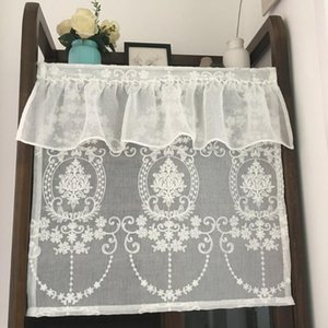 White Half Curtain Retro Flower Embroidery Coffee Lace Yarn Pure Short Curtain for Bar Kitchen Cabinet Door Children's Room
