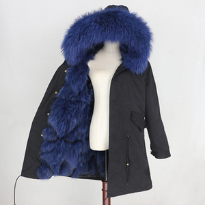2020 Female Real Fur Parka Thick Detachable Winter Coat Women with Raccoon Dog Fur Collar Outerwear