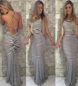 new Sundress Halter Neck Long Black White Stripe Women Maxi pleated bodycon gathered bandage Stripe Dress free shipping