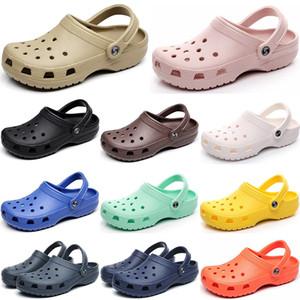 2021 Yeni Moda Klasik Delik Ayakkabı Erkekler Kadınlar Wading Terlik Üçlü Beyaz Siyah Pembe Erkek Rahat One-Adım Hafif Açık Sandalet
