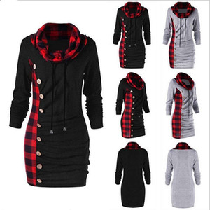 Autumn And Winter 2020 New Plaid Straight Breasted Decorative Splicing High Collar Sweater For Women Sweatshirt Hoodies