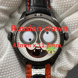 Clown russe Montre de luxe de luxe 42mm x 11.8mm Mouvement de quartz importé de la Suisse Suisse En acier inoxydable Montre automatique