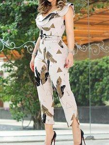 2020 Summer Women Elegant Sleeveless V Neck Casual Jumpsuit Slim Fit Leaf Print Layered Ruffle Split Leg Jumpsuit