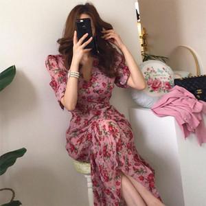 Vintage V neck Ruched Summer Dress Women Slim Waist Floral Print Long Dress Elegant Summer Short Sleeve Female Vestidos