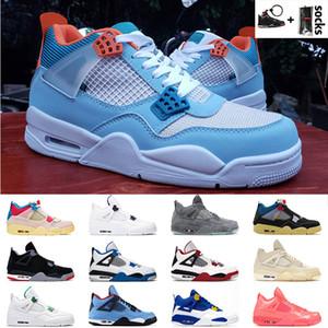 Высочайшее качество 4 4S Jumpman Союз Noir Blue Basketball Shoes Off Pay Hot Punch Кактус Джек Ретро Мужчины Женщины Тренеры Модные кроссовки 36-47