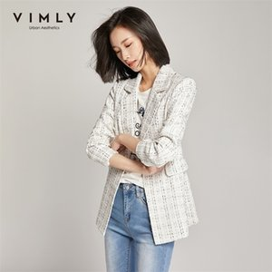 Vimly Woman Blazers Business Casual Gurn Colllar Single Button Vintage Tweed Chaqueta Veste Femme LJ201214