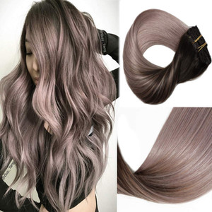 High Quality Ombre Clip in Human Hair Extensions #1b 18 Ash Blonde Balayage Double Weft Clip on Hair Extension Full Head 8pcs 120g