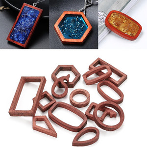 2021 ZB19 New 13style Open Bezel Back Pendant Frame Geometric Shaped Charms Diy Epoxy Resin Wood Pendants for Jewelry Making Crafts