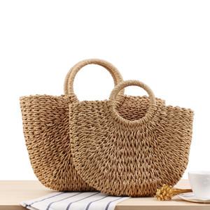 Fashion Handmade Women Straw Handbags Drawstring Ladies Woven Summer Beach Shoulder Bags Female Bohemian Travel Casual Tote 2020 Q1129