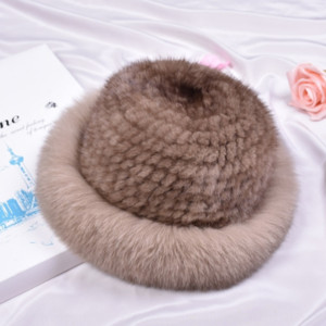 x7pNJ Autumn and winter Korean mink fur woven fur fisherman's wool fox Fisherman knitted knitted hat hair big brim hat