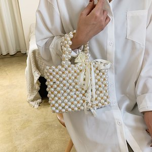 New Retro woven Mary pearl handbag fashion lady party with shoulder bag bag basket pearl lady bag Handbag