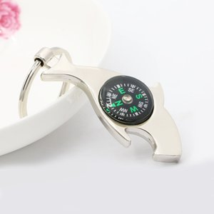 Dolphin Shaped Bottle Opener Key Ring Multi-function Hiking Metal Mini Compass Keychain Party Gift