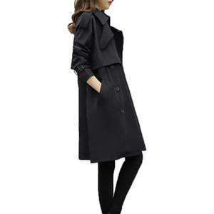 QPIPSD 2020 Весна и осень Новый тонкий Большой Размер Длинная Ветровка Куртка Повседневная Сплошная Цветная Куртка Женский Прилив Пальто Ветря