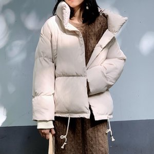 Oversized Winter Women's Jacket Korean Style Loose Thick Coat Ladies Solid Stand Collar Cotton Padded Casual Short Parkas Female