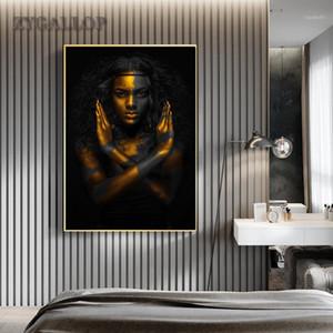 Altın Siyah Kadın Tuval Boyama Afrika Sanat Kadın Posterler Modern Resim Sergisi Oturma Odası Duvar Resimleri için Ev Dekorasyon Cuadro1