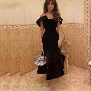 New Arrival Satin Mermaid Evening Dresses 2021 Robe soiree dubai Off the shoulder Velvet Black Party Prom dress