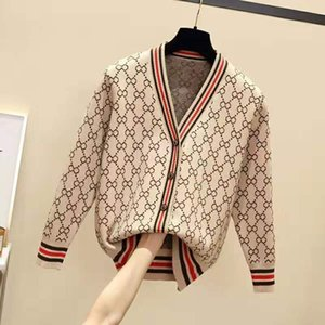 Spring New Fashion Loose V-neck Long Sleeve Knitted Luxury Cardigan Jacket Outer Woolen Clothes Ladies Small Cardigan Designer Sweater