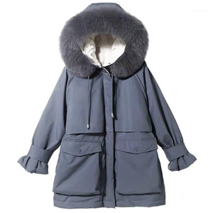 Large Natural Fur Hooded Winter Jacket Women 90% White Duck Down Thick Parkas Warm Sash Tie Up Snow Coat1