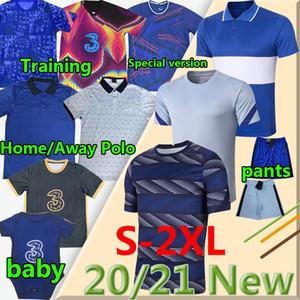 2020 2021 Havertz Kante Soccer Polo Training Werner Pulisico Ziyech Abraham Mount Jorginho Lampard Pantaloncini da calcio Uomo Kit Kit Kit Polos Baby