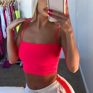 Casual Women Sexy Backless Camisole Summer Spaghetti Strap Tank Strap Cropped Neons Fashion Tops Haut Femme Y2K
