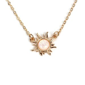 Sun Flower Opal Necklace Choker Pendant Short Clavicle Chain