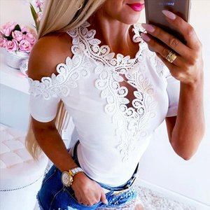 New Fashion Womens Summer Cold Shoulder Lace Tops Short Sleeve Hollow Out Bodycon S XL Size Blouse Casual Shirt Ladies Clothes