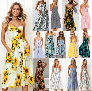 Sexy 2020 summer V Neck Backless Floral Summer Beach Dress Women White Boho Striped Button Sunflower Daisy Pineapple Party Midi