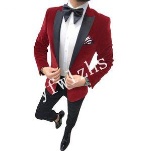 Handsome Velveteen Groomsmen Peak Lapel Groom Tuxedos Mens Wedding Dress Man Jacket Blazer Prom Dinner suits (Jacket+Pants+Tie)W297