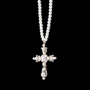 New 30 inch White Pearl Necklace with pearl cross personalized hip hop Pendant best gift for women