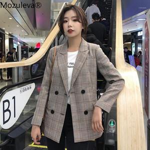 Mozuleva Casual Plaid Notched Collar Women Blazer Jacket Chic Double Breasted Full Sleeve Female Jackets Outerwear 2019 Workwear1