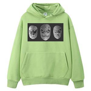 New Designs Green Mens Hoodies Unisex Hoodie China Opera Facial Masks Print Sportswear Autumn Fashion Male's Sweatshirt Top Coat