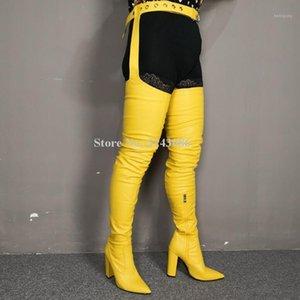 Mulheres amarela cor couro chunky calcanhar cintura calças longas botas moda apontou cinto de ponta sobre o joelho coxa alta botas lady1