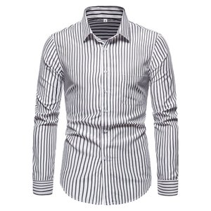 Szmxss camicie per uomo casual slim fit a righe social manica lunga abbigliamento business marchio vestito camicie maschili camicie classiche Tops LJ200928