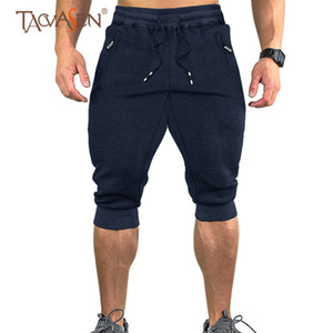 TACVASEN Sweatpants Sports Shorts Men Gym Shorts With Pockets Outdoor Cotton Casual 3 4 Jogger Capri Pants Athletic Shorts 26-40 Q1202